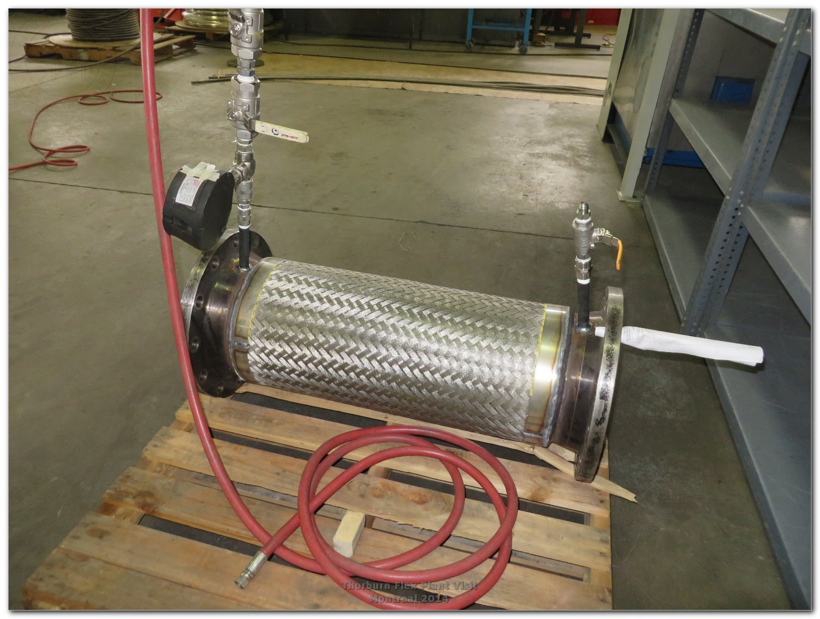 Metallic hose assembly ready for CRN qualification burst test